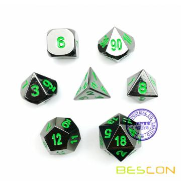 Deluxe Gloss Black Metal 7pcs Polyhedral Dice Set, Black Metal RPG Game Dice Metal 7pcs Set de d4 d6 d8 d10 d12 d20 d%