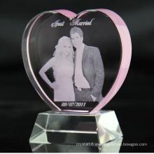 Laser 3D personalizado grabado K9 Corazón Rosa de cristal premios cristal cumpleaños, recuerdos de los regalos boda