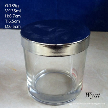 Cilindro redondo frasco vidrio candelabros de cristal con tapa de acero