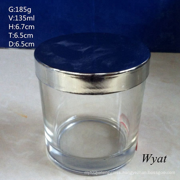 Round Cylinder Glass Candle Jar Glass Holder with Steel Lid
