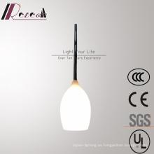 Lámpara colgante de vidrio blanco ópalo moderno simple para sala de estar
