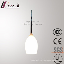 Lampe pendante en verre blanc opale simple moderne pour le salon