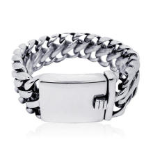 Distorção inoxidável da jóia dos braceletes da identificação do estilo do punk do clássico livre para homens