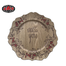 Romantic Plastic Charger Plate with Wood Veneer