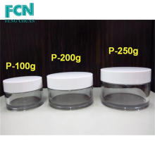 Plastique Cosmétique rond Emballage de crème vide 200g 250g pot cosmétique