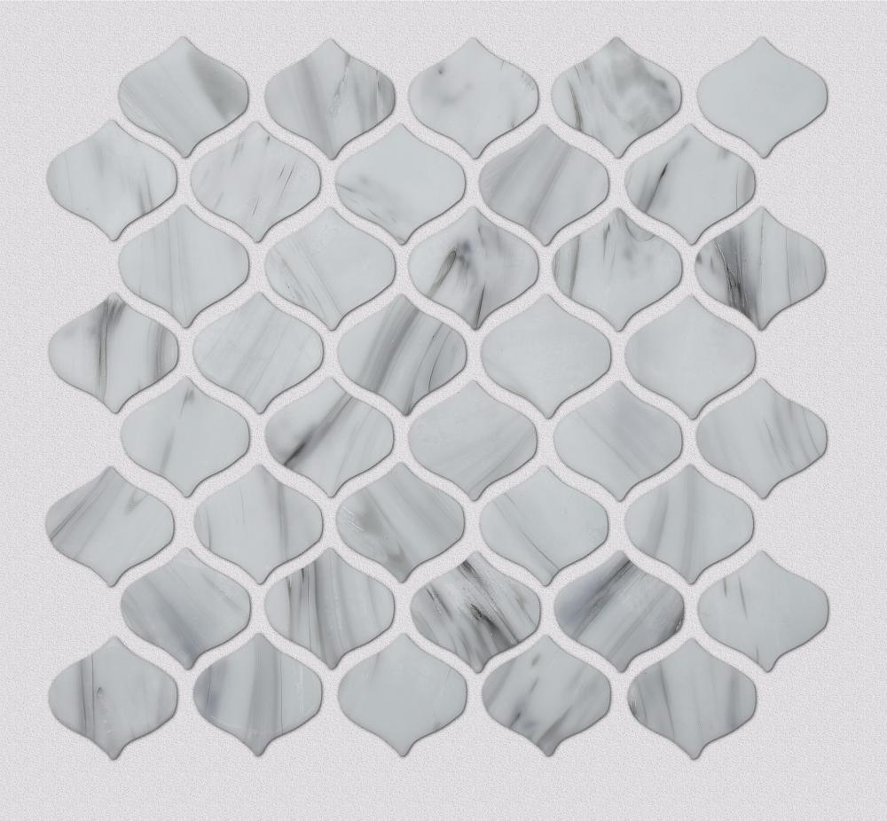 White Stone Alike Arabesque Shape Glass Mosaic
