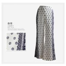Las mujeres de ropa de moda de impresión de flores pantalones anchos de rayón de pierna