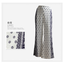 Women Clothing Fashion Flower Print Ladies Wide Leg Rayon Pants