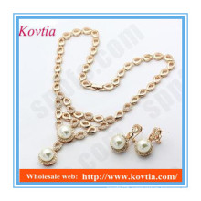 Italian imitation pearl statement necklace and earrings jewelry sets