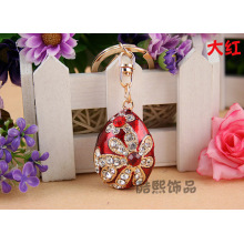 creative cute enamel Easter egg love Crystal car key chain fashion rhinestone metal bag hanger wholesale jewelry