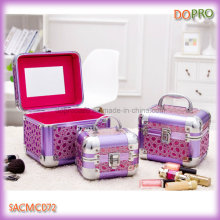 Beauty Shining Purple Surface Aluminum Jewellery Box with Mirror (SACMC072)