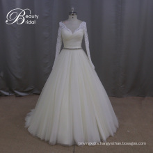 Heavy Beading Pattern Tulle A-Line Bridal Gowns