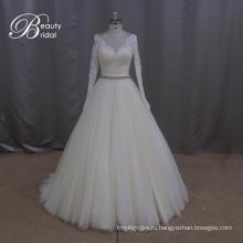Тяжелые бисером узор тюль Трапеция Свадебные платья