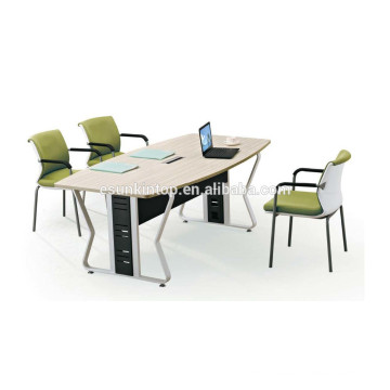 Cheap price melamine desktop meeting table with steel frame