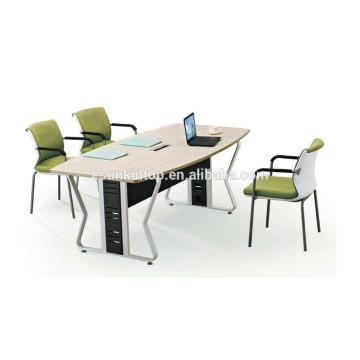 Mesa de reunião de mesa de melamina de preço barato com armação de aço