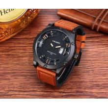6858 reloj de pulsera bisel de moda con 8 tornillos Big Dial correa de cuero Ss hebilla
