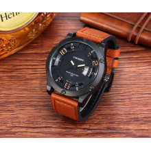 6858 наручные часы мода Безель с 8screws большой Циферблат Кожаный ремешок СС Пряжка
