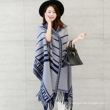 Women Fashion Viscose Nylon Knitted Winter Fringed Shawl (YKY4523)