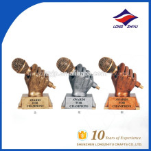 custom music trophy golden Microphone trophy
