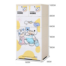 Plastic Cartoon Printed Design Drawer Storage Cabinet (HW-S502)