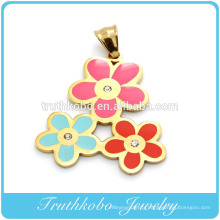 Acier inoxydable bricolage plaqué or trois couleurs émail collier de fleurs collier pendentif en cristal