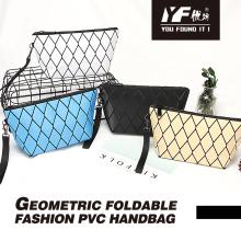 Pochette pour femme sac à cosmétiques en PU lumineux sacs à fermeture éclair de maquillage motif rhombique géométrique
