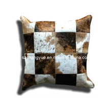 Cojines de remiendo de piel de vaca de cuero natural