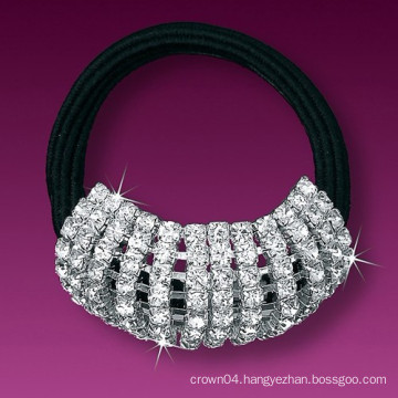 fashion metal silver plated crystal sport hair band