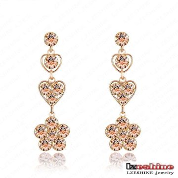 Gold Plated Metal Pave Champaign Crystal Drop Earrings (ER0021-C)