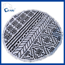 100% Cotton Tassels Round Beach Towel (QDE445)
