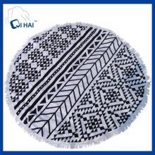 100% Cotton Tassels Round Beach Towel (QDE445)