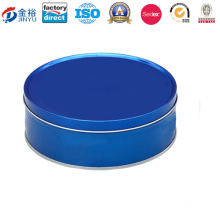 Plain Panton Blue Food Grade Tinplate Round Cookie Tin Box Jy-Wd-2015122614