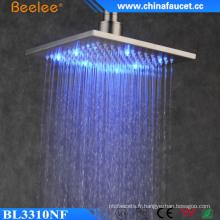 2016 nouvelle salle de bains brossé carré filtré LED tête de douche