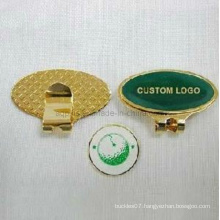 Custom Made Brass Hat Clip in Gold Plating (Golf-16)