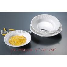Vajilla de porcelana de restaurante de color blanco JX-PB018