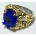 Bijouterie à bijoux en acier inoxydable avec anneau à doigts en pierre jaune