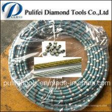 Perle frittée de diamant pour scier la corde métallique de diamant pour la coupe