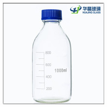 1000ml Clear Medicine Glass Chemical Bottle with Plastic Caps