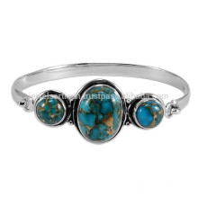 Gorgeous Blue Copper Turquoise Gemstone & 925 Sterling Silver Adjustable Bangle for Party