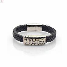 Pulseira de couro feito à mão pulseira de aço inoxidável dos homens
