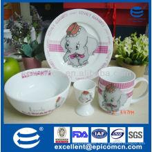 Décoration d'éléphants de dessin animé 3pcs porcelaine vaisselle set de petit-déjeuner