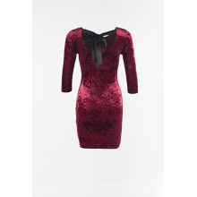 Samt langärmliges Kleid