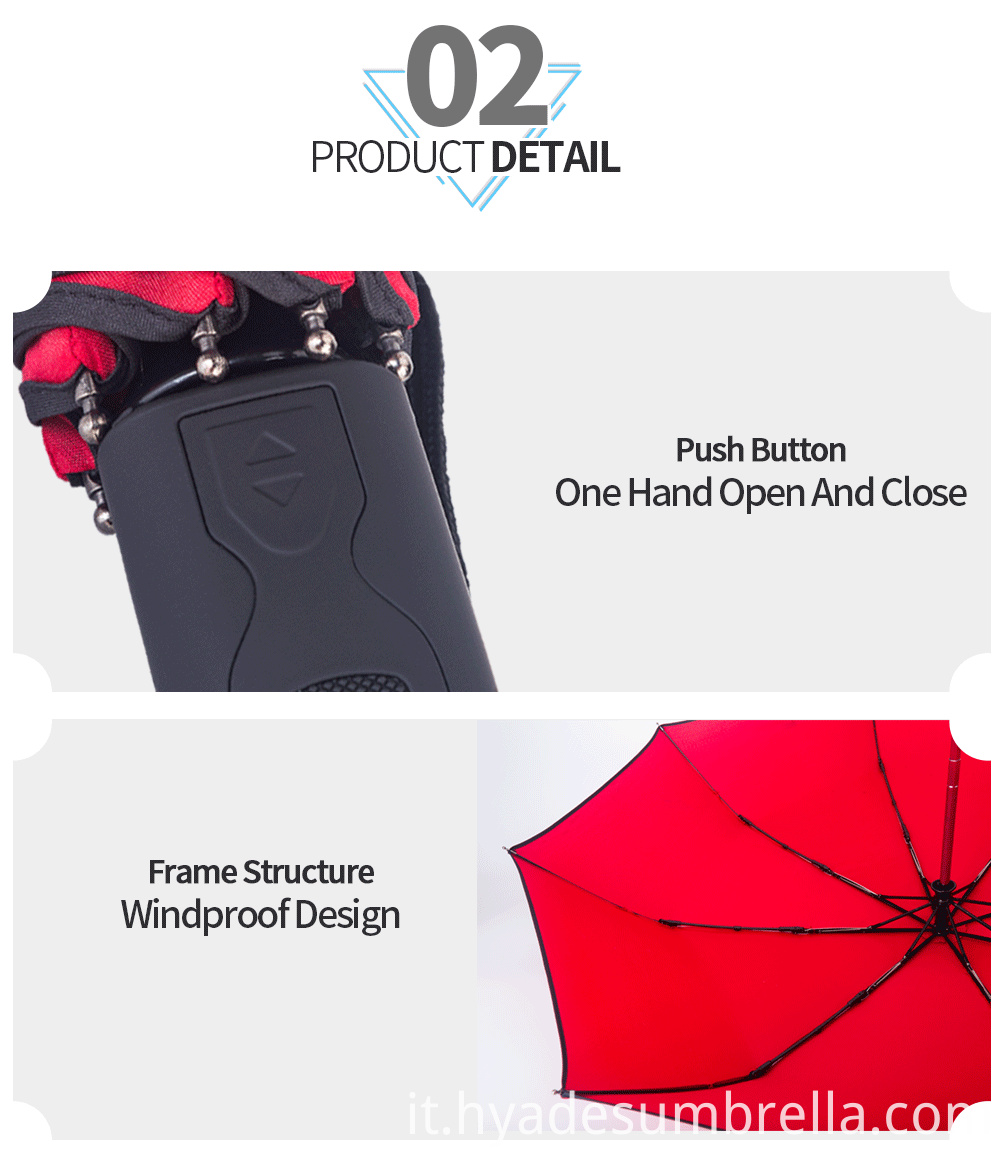 3 Folding Umbrella Black Rubbery Handle With Strap