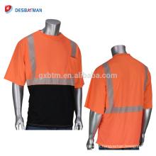 2018 Nova Moda 100% Poliéster Birdseye Malha T-shirt de Alta Visibilidade Respirável Camisa Reflexiva Trabalho Com Bolso