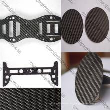 Corte del CNC de la hoja de la fibra del carbón de la tela cruzada de 1.5x250x400mm
