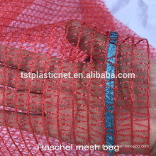 Orange 50x80 Raschel mesh bag for packing 40kg potatoes