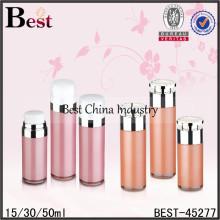 Botellas sin aire de la loción de acrílico de 30ml 50ml, botellas airless directas de la fábrica y tarros de muestras libres al por mayor