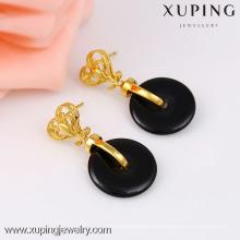 grande boucle d'oreille goutte semi précieuse, boucle d'oreille fashion en or 24k, pendants noirs
