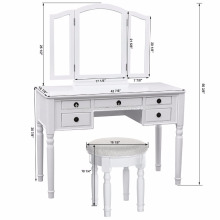 Tri-folding mirror dresser White sample mirror furniture dressing table