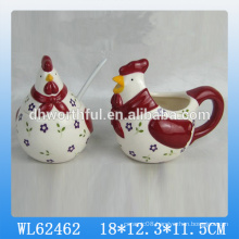 Easter cock ceramic seasoning pot set
